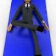 3d man doing yoga on blue carpet concept — Stock Photo #78593570