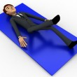 3d man doing yoga on blue carpet concept — Stock Photo #78593922