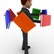 3d man with flying books around him concept — Stock Photo #78823352