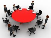 3d man sitting in conference room for office meeting concept — Stock Photo