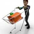 3d man with cart and small home in it concept — Stock Photo #79169798