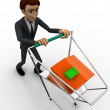 3d man with cart and small home in it concept — Stock Photo #79170614