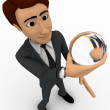 3d man holding sphere of glass in hand and watching it concept — Stock Photo #80179430