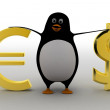 3d penguin comparing / presenting euro and dollar concept — Stock Photo #80604704
