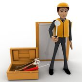 3d construction site worker representation concept — Stock Photo