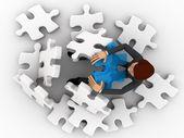 Homem 3d não pode resolver o quebra-cabeça conceito — Fotografia Stock