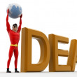 3d superhero holding earth sphere in hand and stand beside idea concept — Stock Photo #82743920