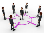 3d man in center of every bidirectional arrow with other men con — Stock Photo