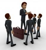 3d men giving instruction to juniours concept — Stock Photo