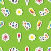 Seamless beach vacation pattern. Background for you a summer vacation design. — Stock Vector