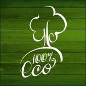 Ökologie kalligraphische Nachricht 100 % Eco. Hölzerne Planken. — Stockvektor