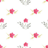 Seamless Watercolor Pattern of Flowers — Stock Vector