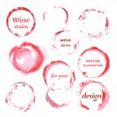 Watercolor spilled wine stains set — Stock Vector