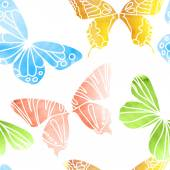 Seamless Watercolor Butterfly Pattern — Stock Vector