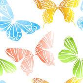 Patrón transparente mariposa acuarela — Vector de stock