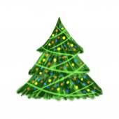 Cartoon Decorated Christmas tree — Stock Vector