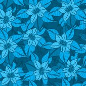 Blue Christmas Flowers background — Stock Vector