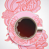Cup of coffee on floral ornament. — Stock Vector