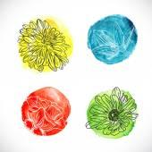 Contour watercolor flowers set — Stock Vector