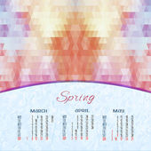 Spring calendar with geometric background — Stock Vector