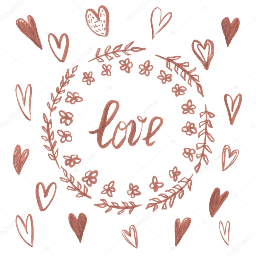 Love Calligraphy In Circle With Flowers Stock Vector