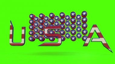 Usa text animation with chroma key background — Stock Video