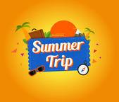 Summer trip logo design. — Stock Vector