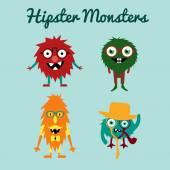 Jeu de monstres exotiques freaky hipster rétro mignon vectorielles — Vecteur