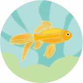 Aquarium fishes: highly detailed illustration of goldfish. — Stock Vector