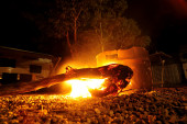 Camping Fire — Stock Photo