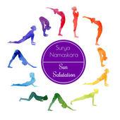Yoga Sun salutation — Stock Vector