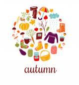 Set of vector doodles Autumn symbols. — Stock Vector