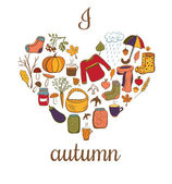 Vector card I love autumn. — Stock Vector