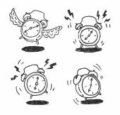 Four alarm clocks icons — Stock Vector