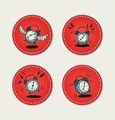 Cartoon style retro alarm clock icons — Stock Vector