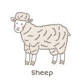 Rolig tecknad får, barn illustration — Stockvektor