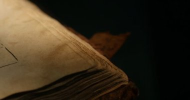 Old Book Paterik of Kiev-Pecherska Lavra Old-Slavic Style of Writing Engravings Pictures Episodes from the Life of Saints Monks Turning Pages of Book — Stock Video