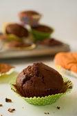 Freshly baked homemade chocolate muffin cupcake in green paper c — Stock Photo