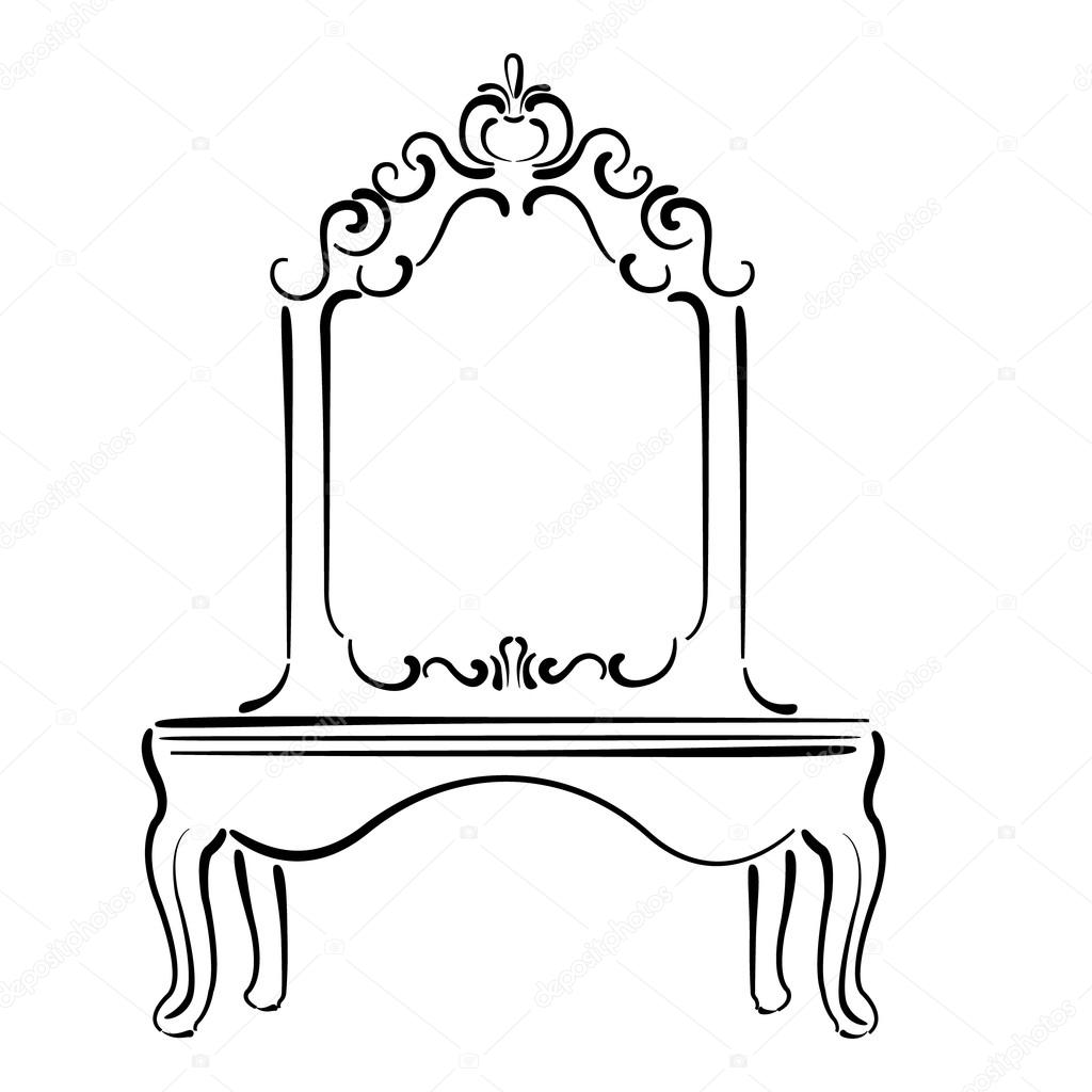 Big standing mirror vintage interior sketch stock - Dibujos para espejos ...