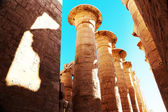 Pillars of the Karnak temple with ancient egypt symbols, Luxor, Egypt — Stock Photo