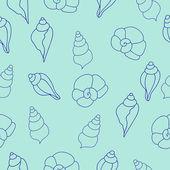 Blue sea shells vector seamless pattern — Stock Vector