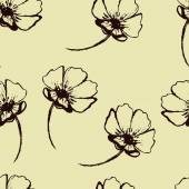 Vintage vector seamless pattern with hand-drawn flowers — Stock Vector