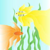 Twee vector gouden vissen onderwater illustratie — Stockvector