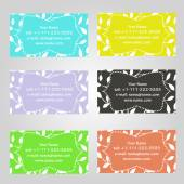Set of six horizontal business cards in different colors. Vintage pattern with leaves. Complied with the standard sizes. — Stock Vector