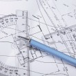 Drawings project with ruler, protractor and compass — Stock Photo #78158218