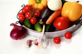 Composition with assorted raw organic vegetables wooden table — Stock Photo