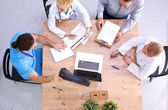 Group of business people working together on white background — Stock Photo