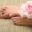 Closeup photo of a beautiful female feet with red pedicure isolated on white — Stock Photo #83688700