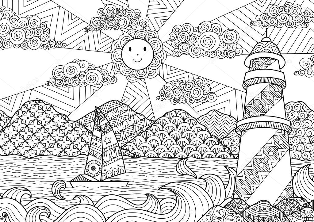 Seascape line art design for coloring book for adult anti for Art et decoration pdf