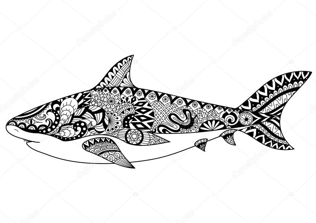 他の装飾、t シャツのデザインのタトゥー大人の塗り絵のサメ ライン アート デザイン — ストックベクター © ...